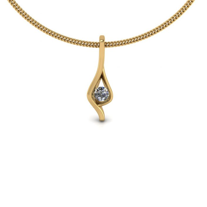 YELLOW GOLD DIAMOND PENDANT GP-08