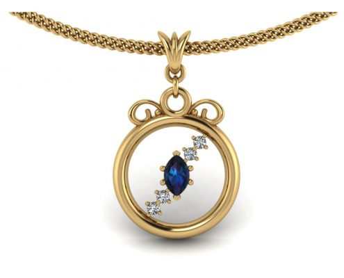 YELLOW GOLD GEMSTONE CIRCLE PENDANT GP-13