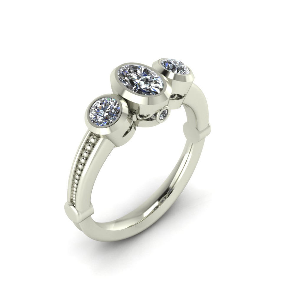 3-STONE OVAL ENGAGEMENT RING