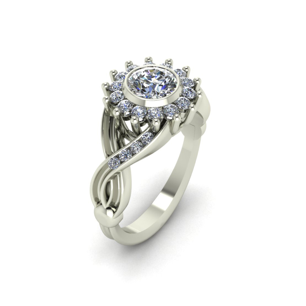 FLORAL HALO ENGAGEMENT RING GER-03