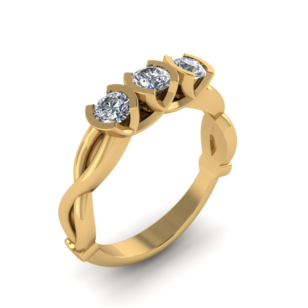 TWISTED THREE STONE RING GER-07