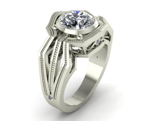 VINTAGE STYLE ENGAGEMENT RING GER-15