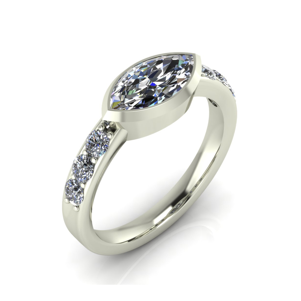 SIDEWAYS MARQUISE ENGAGEMENT RING GER-17