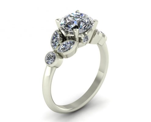 VINTAGE STYLE DIAMOND ENGAGEMENT RING GER-18