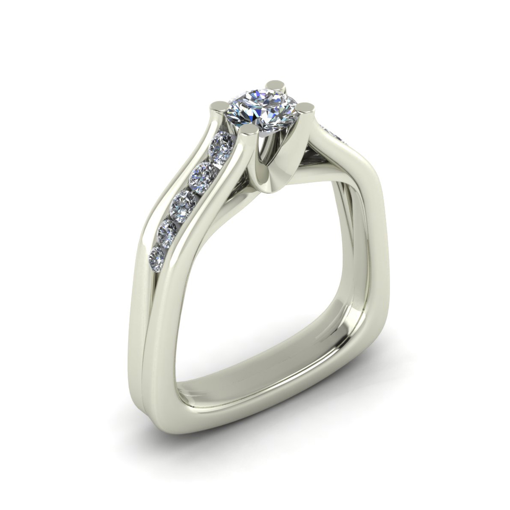 SQUARE SHANK ENGAGEMENT RING GER-19