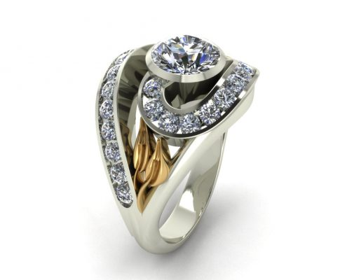 ARTISTIC SPIRAL ENGAGEMENT RING GER-21