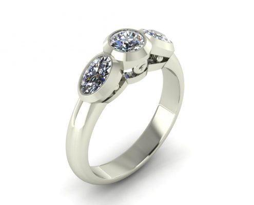 BEZEL SET THREE STONE RING GER-53
