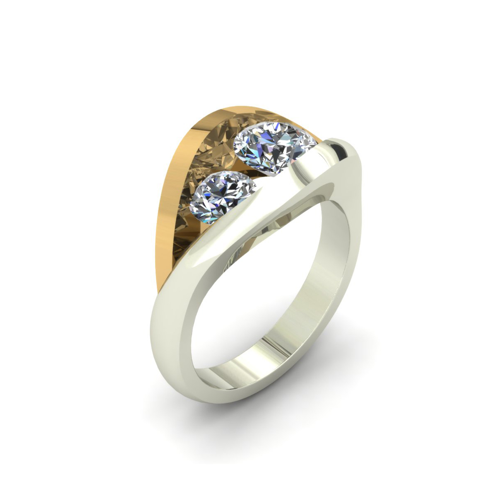 2 TONE ABSTRACT CUSTOM ENGAGEMENT RING