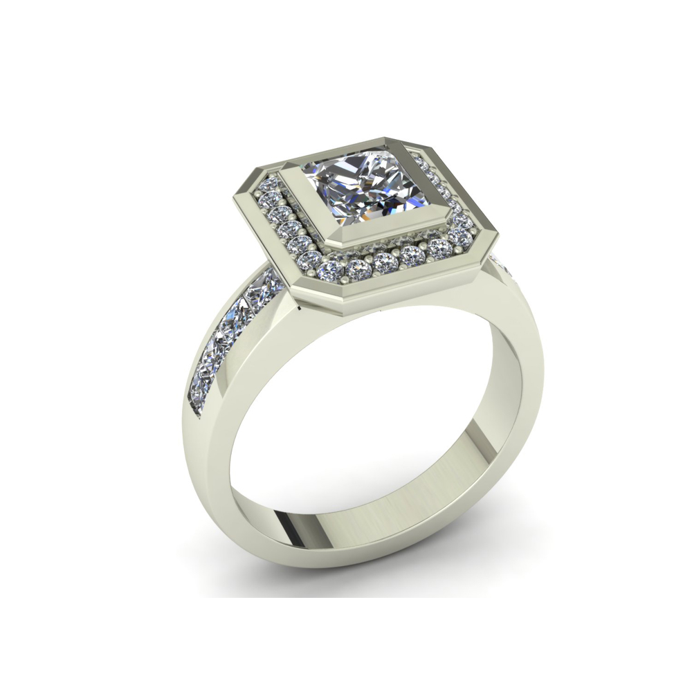 SQUARED EDGE CUSTOM HALO ENGAGEMENT RING
