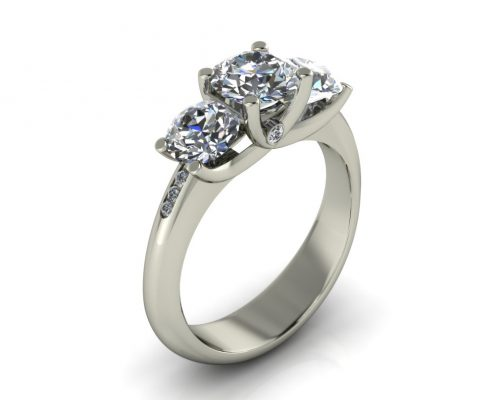 THREE STONE CUSTOM ENGAGEMENT RING