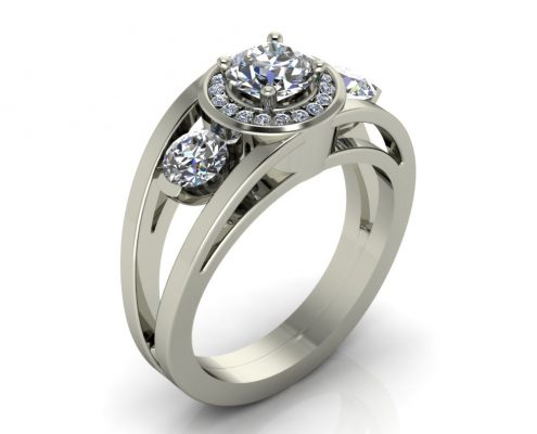 UNIQUE HALO STYLE CUSTOM ENGAGEMENT RING