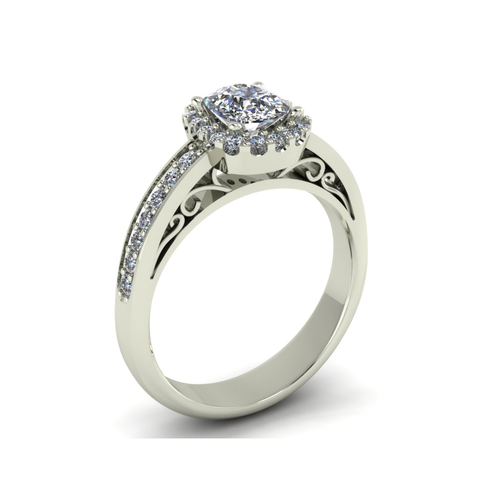 VINTAGE INSPIRED HALO CUSTOM ENGAGEMENT RING
