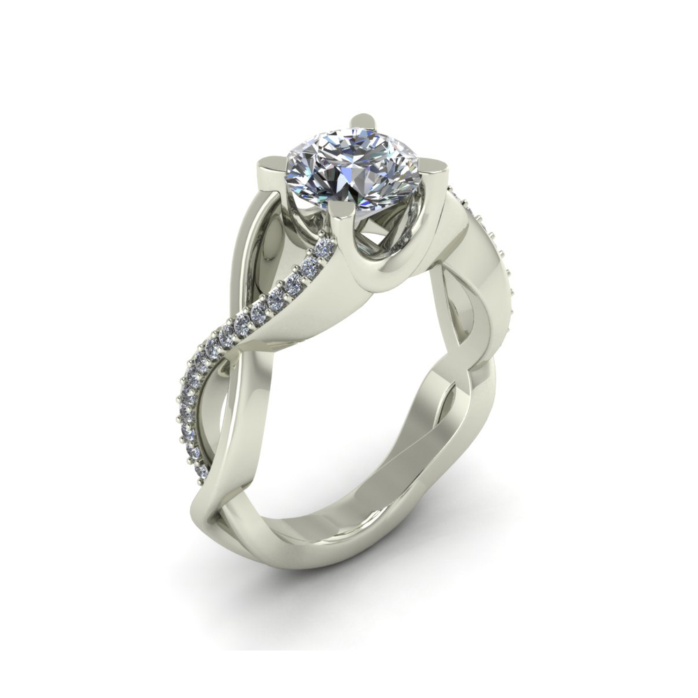 TWISTED DIAMOND CUSTOM ENGAGEMENT RING