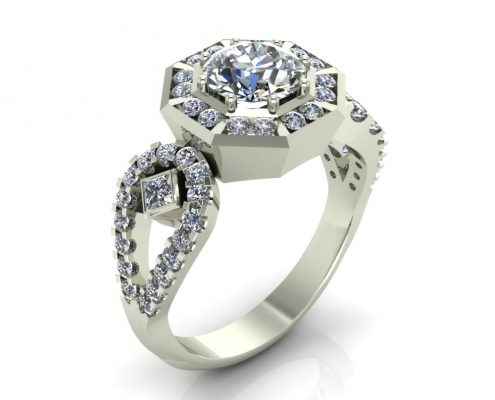 UNIQUE HALO CUSTOM ENGAGEMENT RING