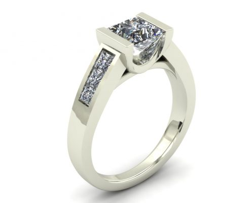 PARTIAL BEZEL PRINCESS CUSTOM ENGAGEMENT RING