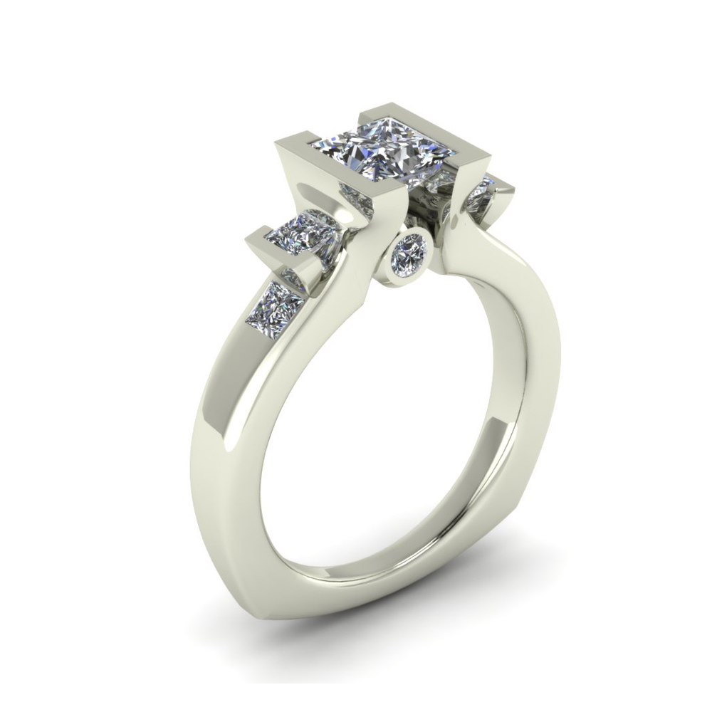MODERN PRINCESS CUT CUSTOM ENGAGEMENT RING