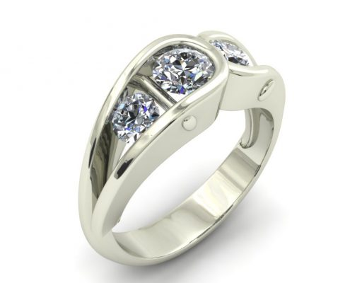 UNUSUAL WHITE GOLD CUSTOM ENGAGEMENT RING