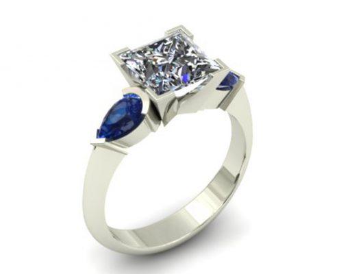 DIAMOND AND SAPPHIRE CUSTOM ENGAGEMENT RING