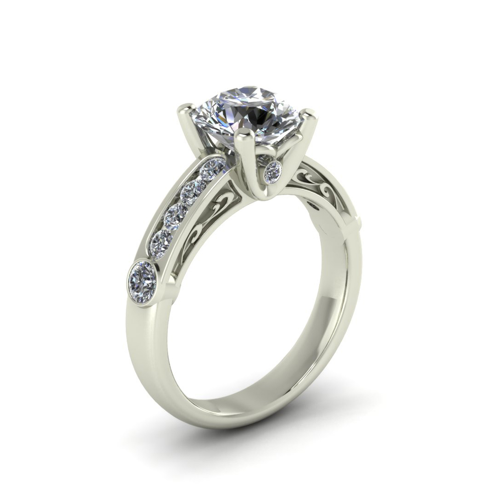SCROLL ACCENT CUSTOM ENGAGEMENT RING