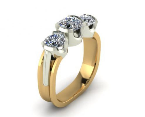 MODERN 3-STONE CUSTOM ENGAGEMENT RING