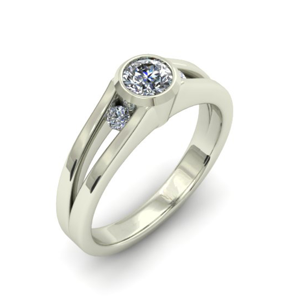 Simple White Gold Custom Engagement Ring