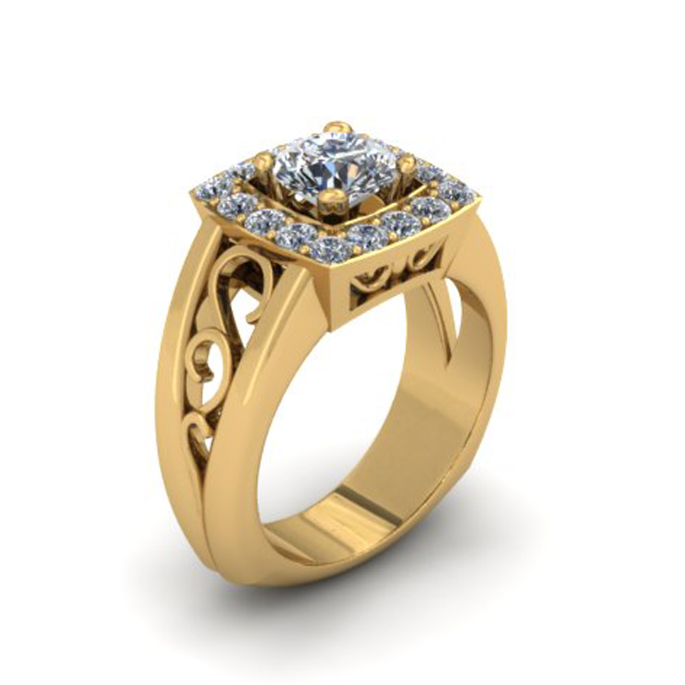 CUSHION GOLD HALO CUSTOM ENGAGEMENT RING
