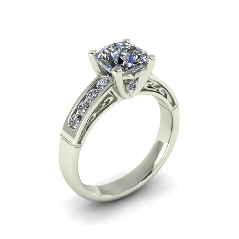 ENGAGEMENT RING WITH SCROLL PATTERN GER-58