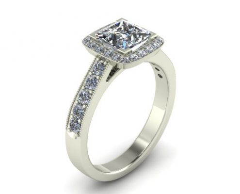 PRINCESS CUT HALO CUSTOM ENGAGEMENT RING