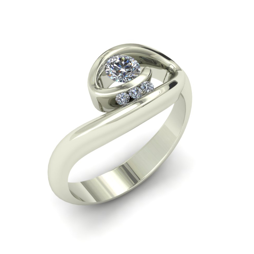 engagement ct band halo and swirl t princess ring w two tone rings