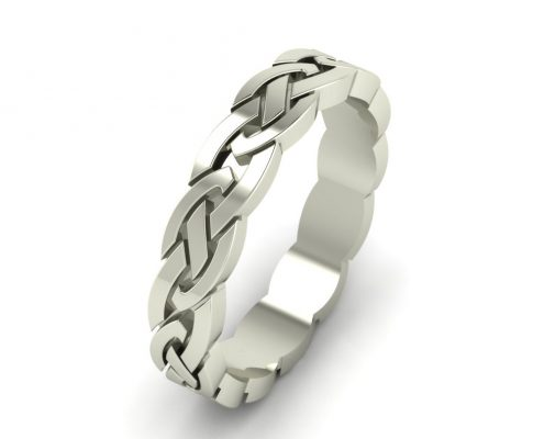 BRAIDED WHITE GOLD CUSTOM WEDDING RING