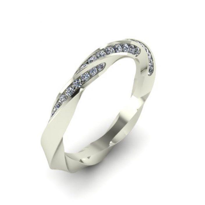 TWISTED DIAMOND CUSTOM WEDDING RING