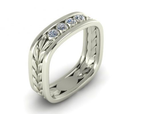 OLIVE LEAF CUSTOM WEDDING RING