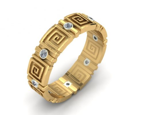GREEK KEY CUSTOM WEDDING BAND