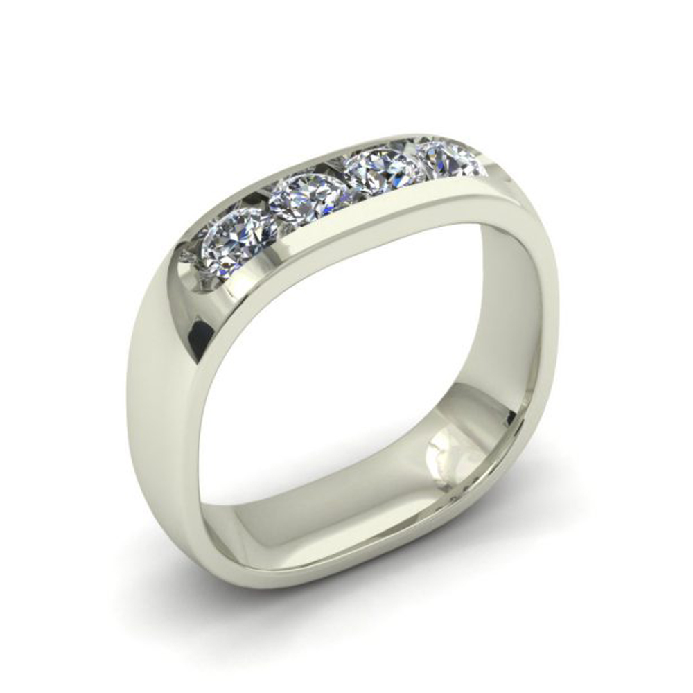 SQUARE SHANK CUSTOM DIAMOND WEDDING RING