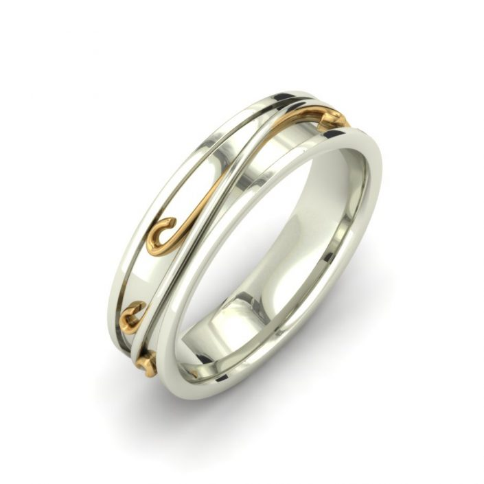 2-TONE SWIRL PATTERN CUSTOM WEDDING RING