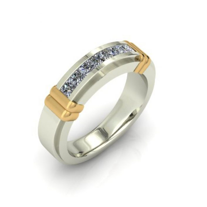 GOLD DETAIL CHANNEL CUSTOM WEDDING BAND