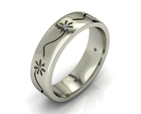 FLOWER PATTERN CUSTOM WEDDING RING