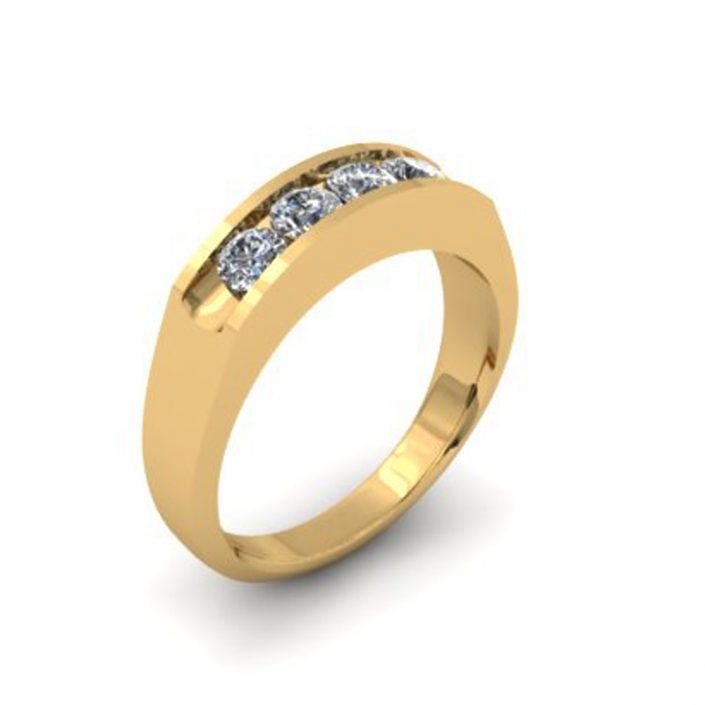 YELLOW GOLD DIAMOND CUSTOM WEDDING RING