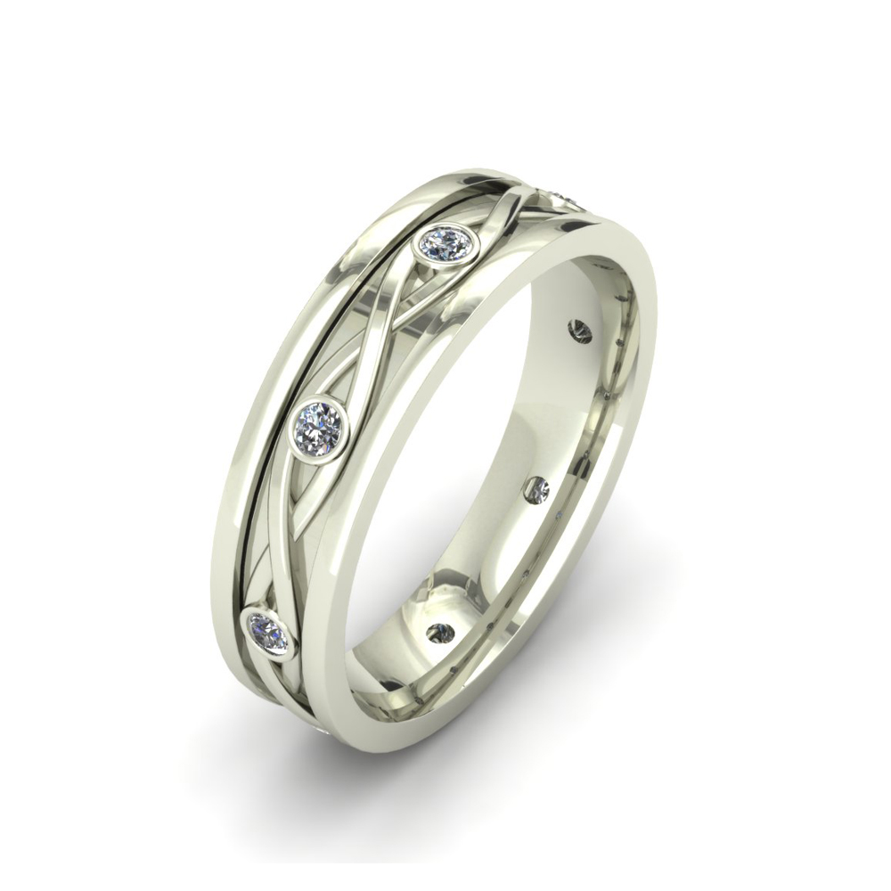 BRAIDED DIAMOND CUSTOM WEDDING RING