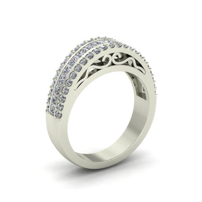 3-ROW DIAMOND CUSTOM WEDDING RING
