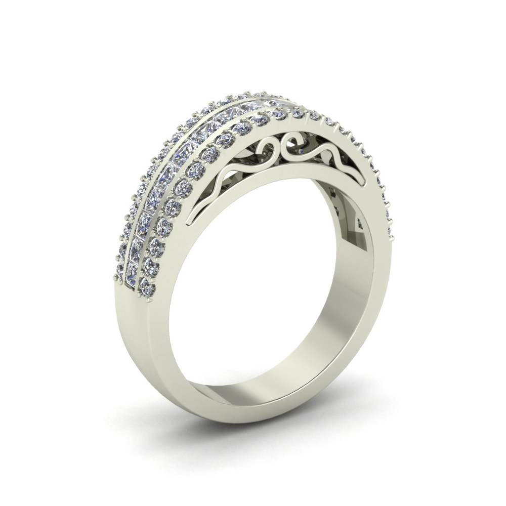 3-ROW DIAMOND CUSTOM WEDDING RING