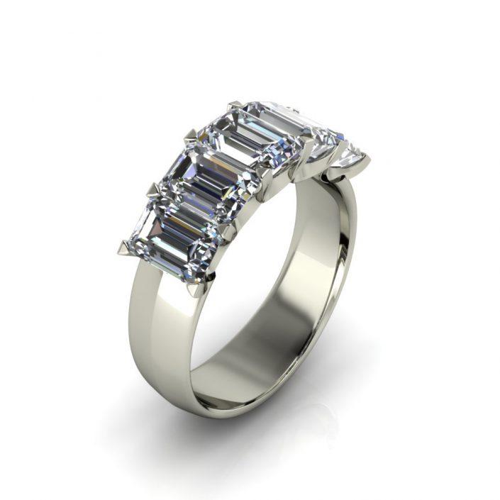 EMERALD CUT CUSTOM DIAMOND WEDDING RING