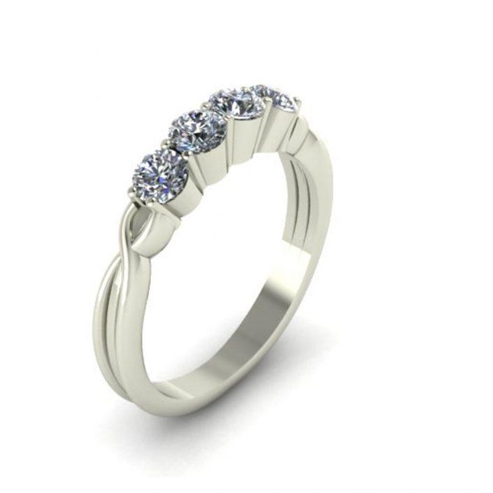 TWISTING DIAMOND CUSTOM WEDDING BAND