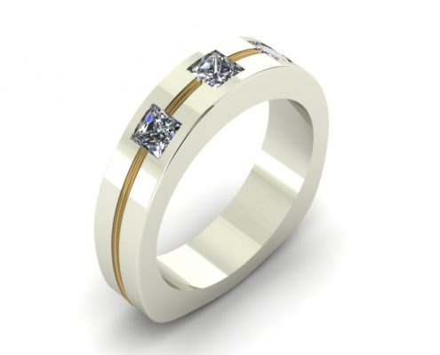 CONTEMPORARY 2-TONE CUSTOM WEDDING RING