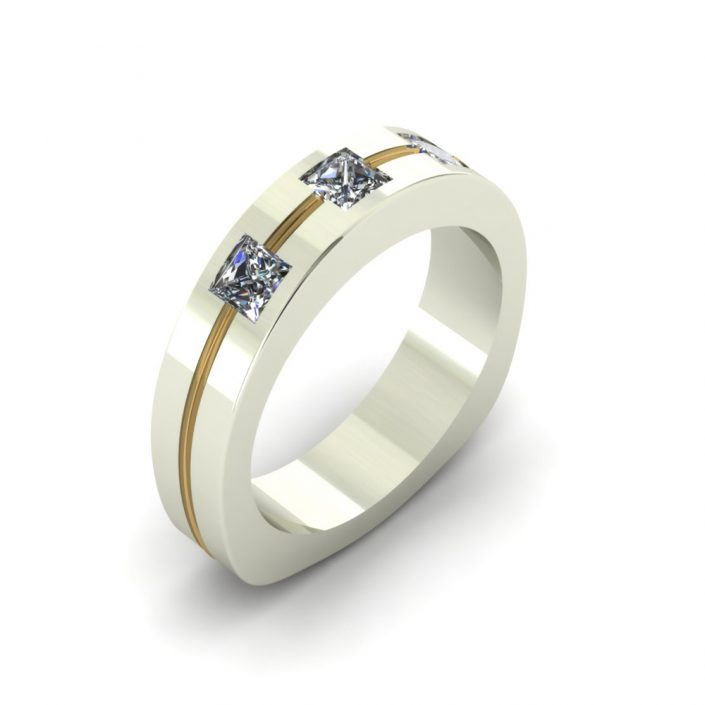 CONTEMPORARY 2-TONE CUSTOM WEDDING RING