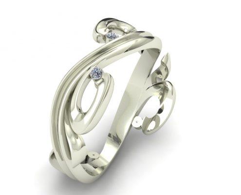 DIAMOND SCROLL CUSTOM WEDDING RING