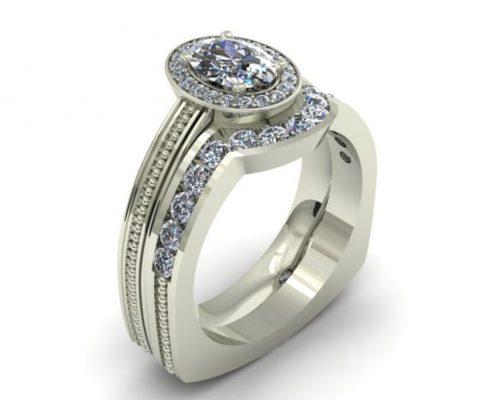 DIAMOND HALO CUSTOM BRIDAL SET
