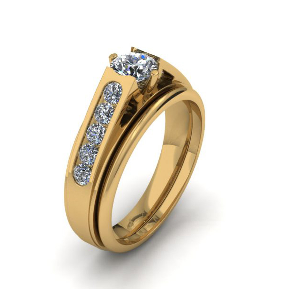 YELLOW GOLD DIAMOND CUSTOM BRIDAL SET