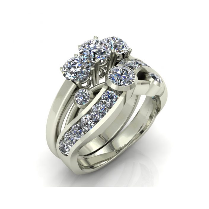 UNIQUE DIAMOND CUSTOM BRIDAL SET