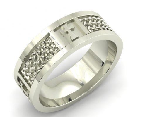 BRAIDED CROSS CUSTOM WEDDING RING